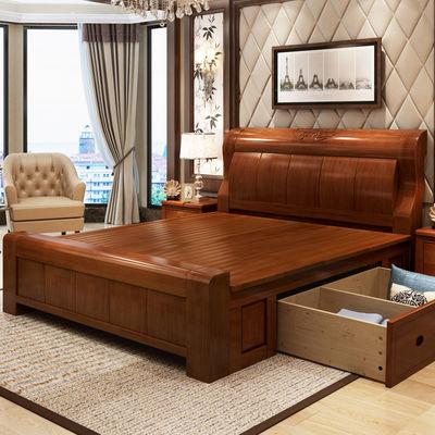 中式实木床1.8m双人2米大床简约橡胶木储物婚床主卧1.5经济型床