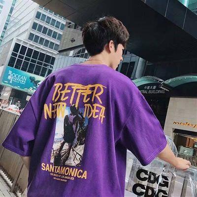 短袖t恤男夏季韩版学生宽松五分原宿bf情侣装个性潮流半袖上衣服