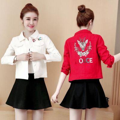 新款春秋装长袖牛仔外套女上衣刺绣短款百搭显瘦夹克衫红色白色