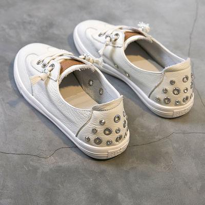 皮面浅口小白鞋女学生韩版夏季新款透气百搭一脚蹬平底单鞋板鞋女