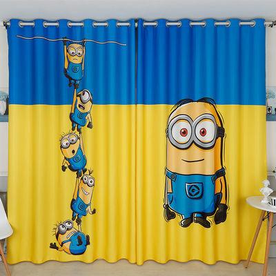 定制卡通儿童房Minions小黄人男孩环保窗帘卧室飘窗落地窗遮光布