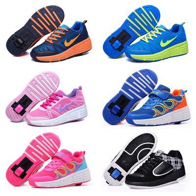 暴走鞋单轮学生滑轮鞋男女童变形鞋儿童带轮的运动鞋爆走鞋轱辘鞋