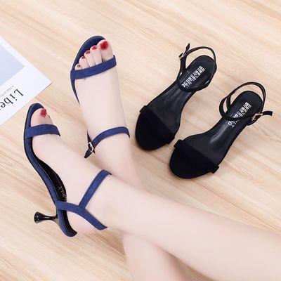 2020新款凉鞋女夏韩版时尚简约高跟鞋细跟百搭罗马一字扣公主鞋