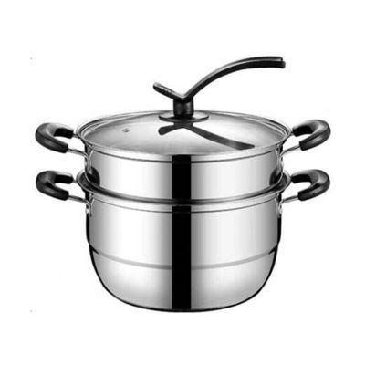 不锈钢蒸锅双层多2层蒸馒头的蒸笼加厚1二2层家用煤气灶用电磁炉