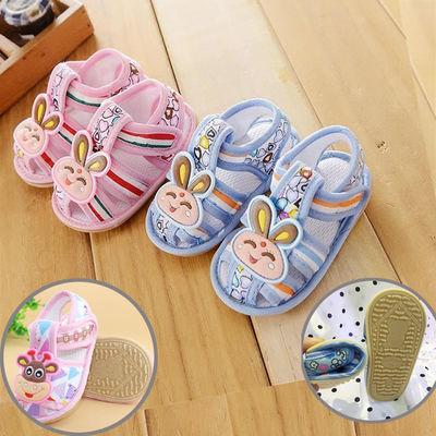 清仓 夏季防水牛筋底软底宝宝防滑学步鞋布凉鞋儿童凉鞋