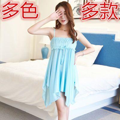 冰丝睡裙女夏 性感款大码韩版可爱宽松胖女士吊带睡衣家居服孕妇