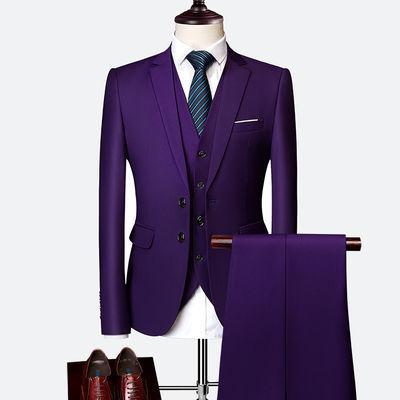 青年西服套装男修身学生休闲小西装新郎结婚礼服三件套商务正装服