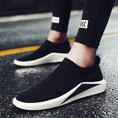 新品夏季透气韩版潮流男鞋板鞋帆布鞋男士运动休闲一脚蹬懒人鞋子