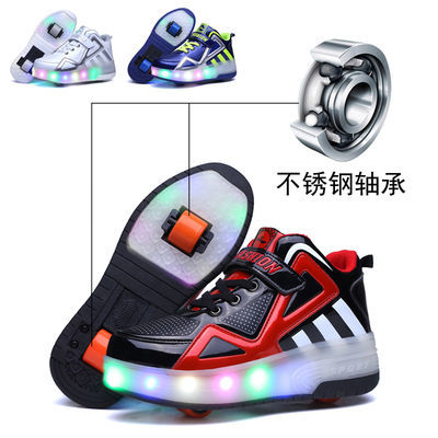 儿童暴走鞋男女童鞋轱辘双轮滑轮爆走鞋带灯鞋底带轮子发光运动鞋