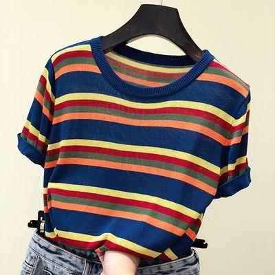 针织衫短袖t恤女2020新款春夏季修身显瘦上衣韩版学生条纹打底衫