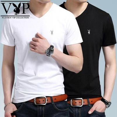 花花公子贵宾95棉男士款体恤V圆领短袖T恤夏季打底衫纯色绣标衣服