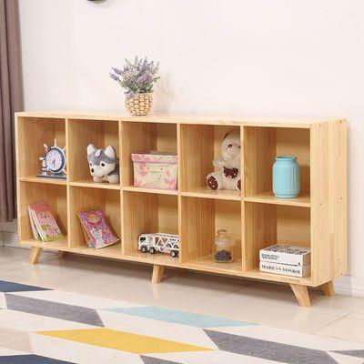 儿童书架简易置物架北欧实木书柜客厅矮柜组合置物柜幼儿园整理柜