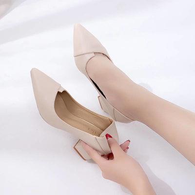 真软皮高跟鞋女粗跟新款鞋子春秋季韩版百搭尖头单鞋女中跟工作女