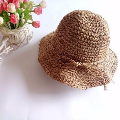 韩国宝宝遮阳渔夫帽春夏海边手工编织亲子帽儿童草帽女童沙滩防晒