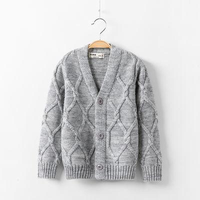 儿童毛衣男童春秋新款中大童男孩V领针织衫童装线衣加绒开衫外套