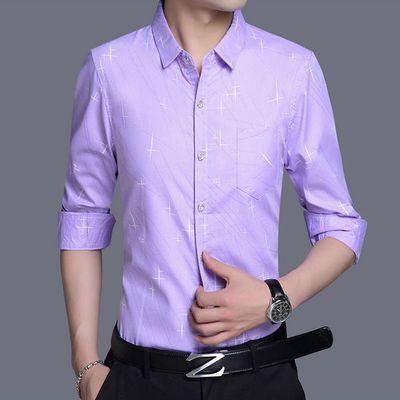 新品春夏季新款中青年印花长袖衬衫男装男士商务休闲衬