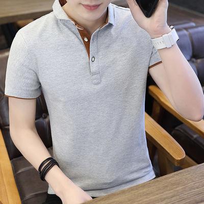 纯棉夏季男士POLO衫短袖翻领T恤半袖V领体恤韩版衣服修身潮流男装