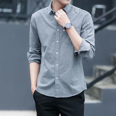 新品秋季男士休闲修身牛津纺打底衬衫长袖韩版中青年男时尚男装
