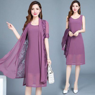 品质好货 两件套连衣裙女2020夏季新款时尚气质中长款雪纺套装裙