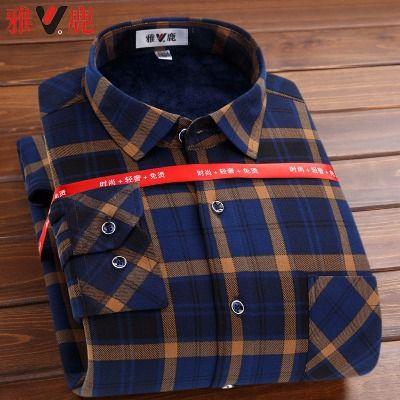 雅鹿正品冬季长袖保暖衬衫中青年修身男士加绒加厚衬衣爸爸装