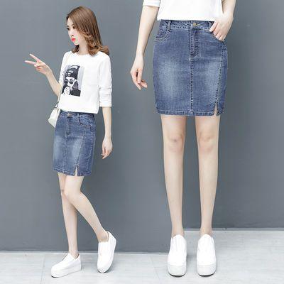 包臀裙牛仔短裙新款韩版高腰半身裙女春夏开叉一步裙牛仔裙A字裙