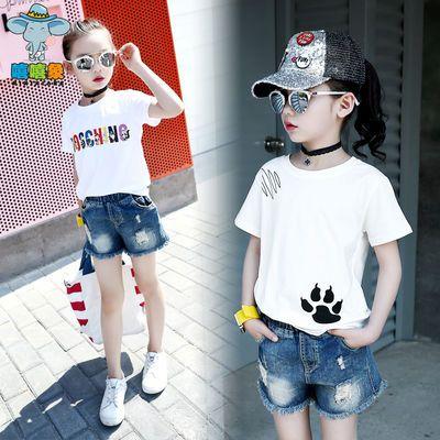 女童夏装套装2019新款儿童装时髦两件套牛仔短裤T恤洋气韩版时尚