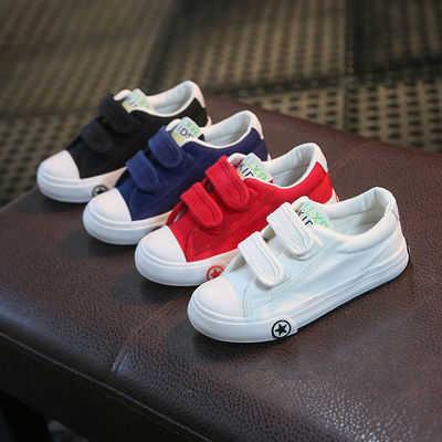 23-40码亲子鞋/男童女童儿童鞋小白色帆布鞋舞蹈表演鞋低帮魔术贴