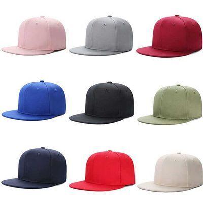 韩版纯色男女情侣平沿棒球帽嘻哈街舞帽春夏天款休闲百搭光板帽子