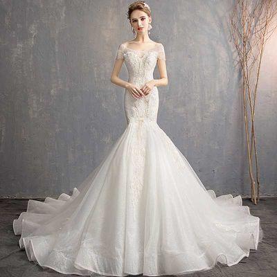 婚纱新娘鱼尾显瘦拖礼服款结女蕾丝一字肩奢华嫁衣收腰裙黑公主矮