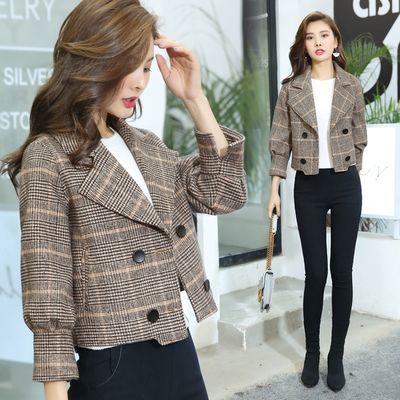 小个子毛呢外套女2019春季新款小西装韩版修身显瘦格子短款外套潮