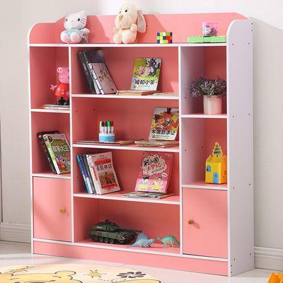 儿童书架书柜简易学生小书柜书橱置物架收纳柜组合储物柜带柜门