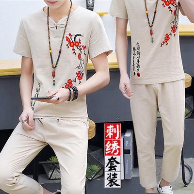 夏季新款中国风刺绣套装男短袖T恤大码休闲运动青少年潮流男装
