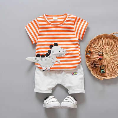 【T恤+裤子】男女宝宝夏装短袖条纹套装0-5岁婴幼儿童春季两件套