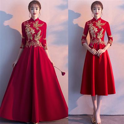 中式敬酒服2020新款现代春季新娘结婚红色礼服裙女中国风立领长款
