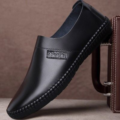 春秋季休闲鞋青年男鞋潮软面皮商务一脚蹬韩版男皮鞋工作鞋爸爸鞋
