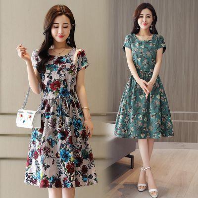 2019夏季新款宽松短袖裙子休闲中长款印花裙子大码女装连衣裙潮