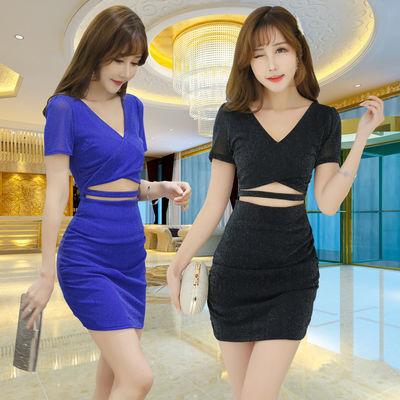 夜店女装修身包臀短裙显瘦气质性感连衣裙低胸夜场桑拿会所工服女