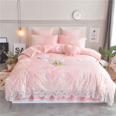 韩版全棉公主风床裙四件套纯色蕾丝花边被套夏天纯棉床单床上用品
