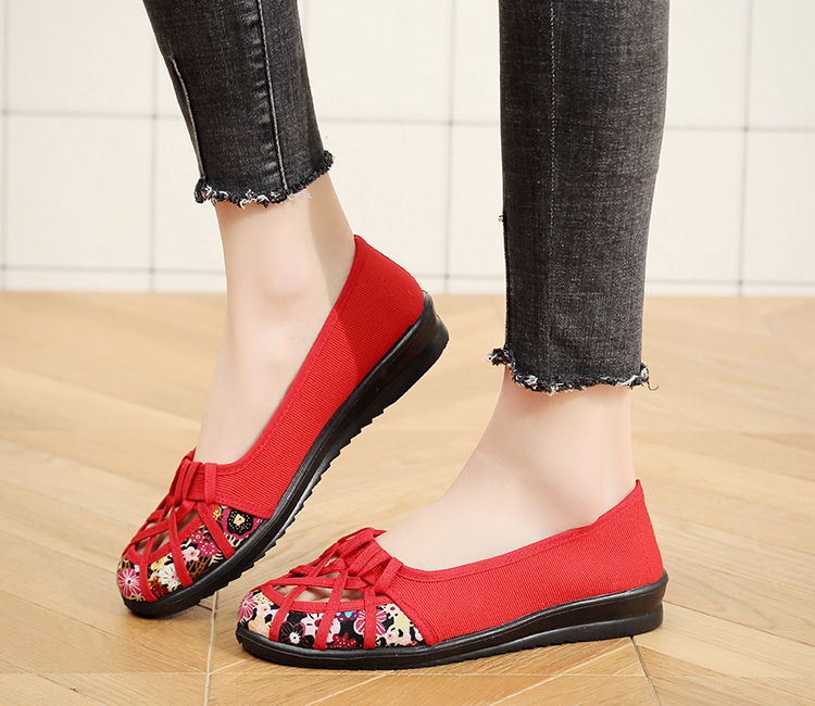 老北京布鞋女鞋春夏款镂空女款平底女鞋包头女网鞋透气妈妈凉鞋女