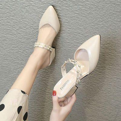 懒人半拖鞋女2020新款包头高跟粗跟尖头外穿百搭珍珠两穿凉拖鞋