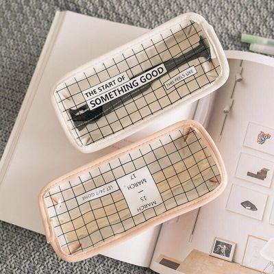 韩国简约透明铅笔袋创意可爱小清新文具盒高中生男女笔袋文具盒