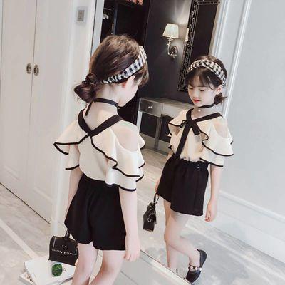 女童夏款套装2020新款儿童夏季吊带露肩上衣韩版小女孩短裤两件套