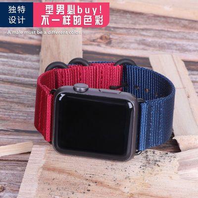 适用苹果apple watch手表代帆布尼龙iwatch4/3/2/1代44mm运动表带
