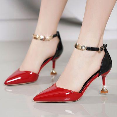 百丽美罗娜2019新款单鞋女高跟鞋细跟凉鞋尖头中空一字扣带女鞋