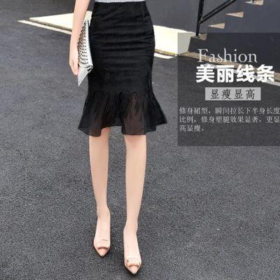 好质量 蕾丝半身裙女春秋中长款高腰网纱鱼尾裙时尚性感包臀短裙