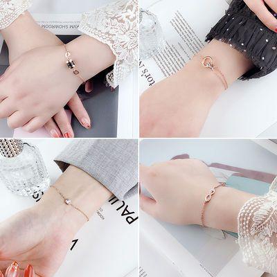 新品韩版钛钢手链女玫瑰金防过敏手饰品简约个性学生细手链手镯