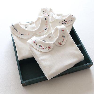 女童宝宝儿童长袖纯棉打底衫小花朵T恤衫2018韩版秋装刺绣上衣