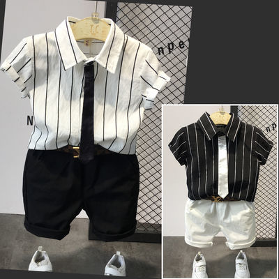 男童短袖衬衫套装韩版2020夏季新款中小童表演服装儿童半袖两件套