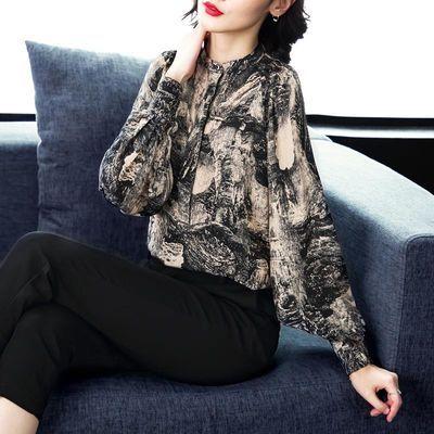 衬衫女长袖2019秋装新款大码宽松灯笼袖复古水墨印花仿桑蚕丝上衣的宝贝主图