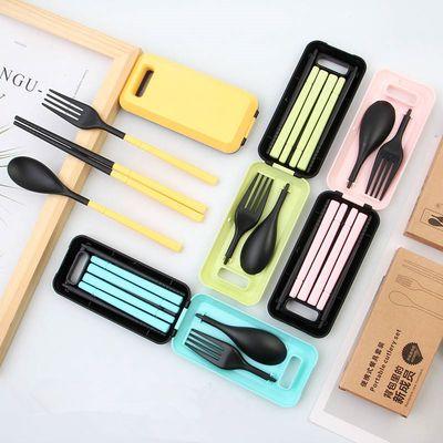 抖音便携可折叠伸缩筷子勺子叉子套装餐具三件套韩国学生可爱筷盒